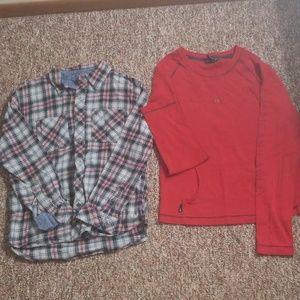 Boys long sleeve plaid shirt and long sleeve AE